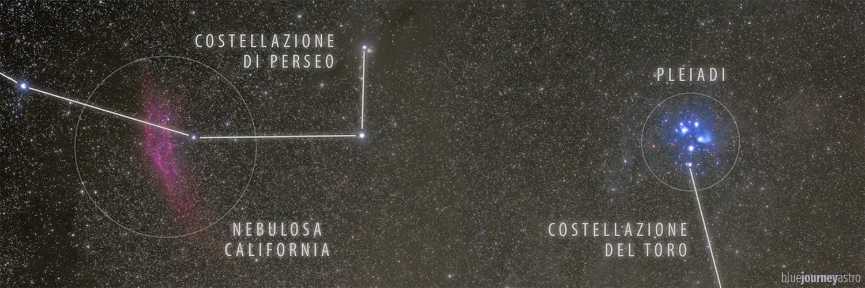 pleiadi costellazione toro perseo nebulosa california blue journey alessio vaccaro