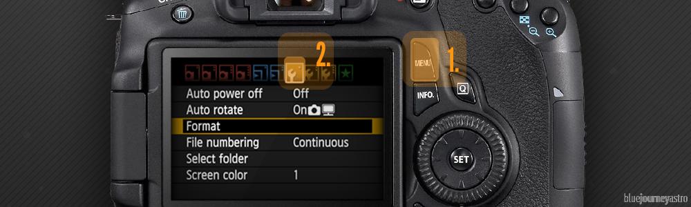 Blue Journey Astrophotography - Formatting Canon Reflex