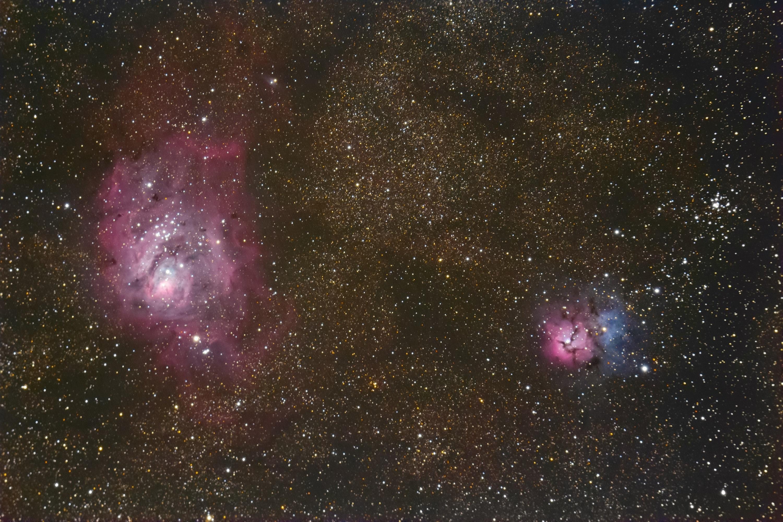M8 M20 Laguna e Trifida Nebulose