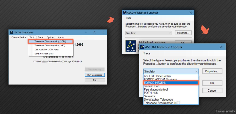 Selezione della montatura per l'utilizzo nella piattaforma ASCOM.