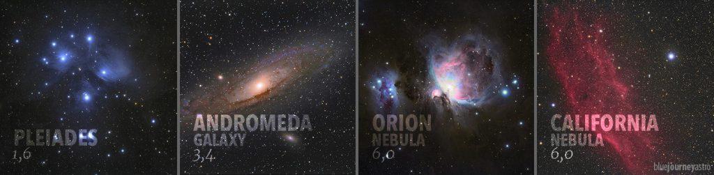 Magnitudine apparente media di alcuni degli oggetti Deep Sky più popolari.