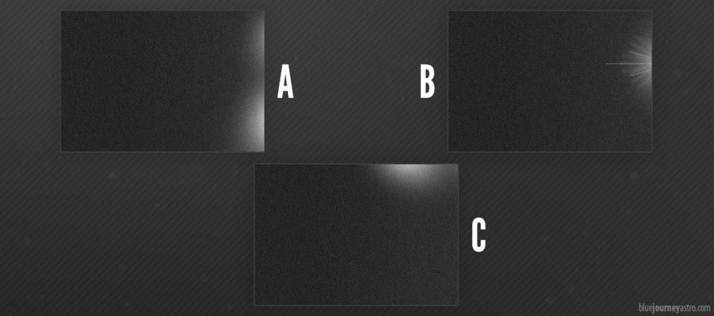 L'Amp Glow si può presentare solitamente ai bordi dell'immagine in diverse forme: come alone (A e C) o come raggiera (B).
