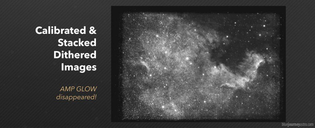 """L'immagine calibrata e stackata attraverso il semplice metodo mediano è completamente priva di amp glow. I bordi neri sono dovuti al metodo di crop impostato su """"Mosaic"""". L'immagine è stata leggermente stretchata per far risaltare eventuali aloni residui."""